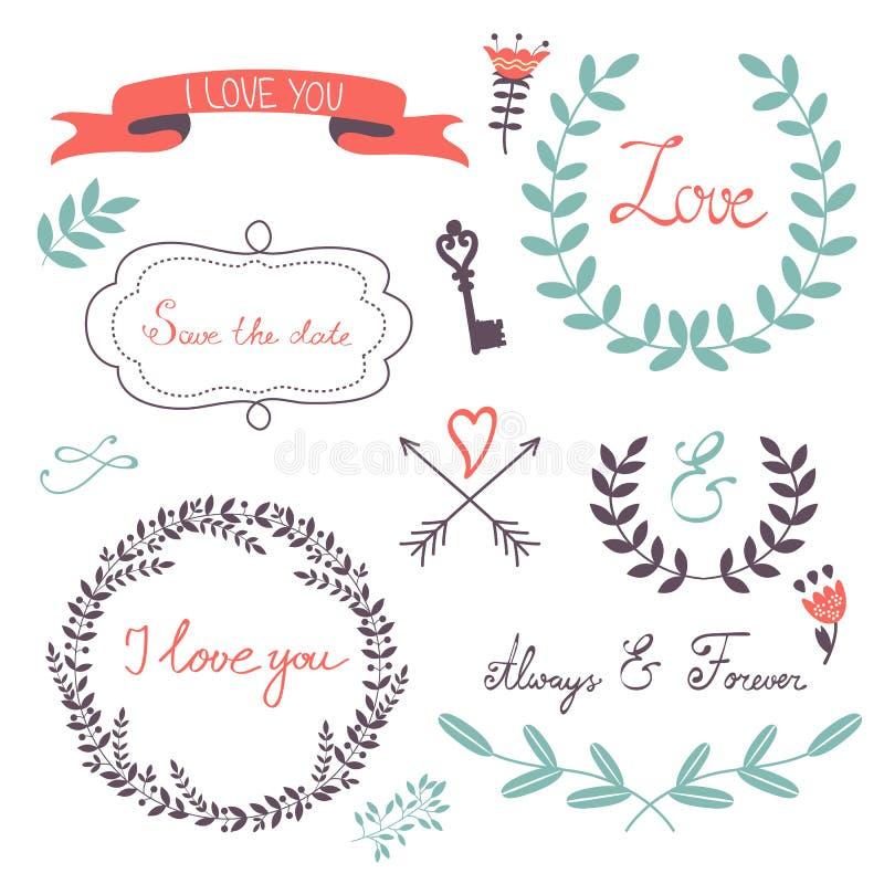 Collection élégante d'éléments graphiques romantiques illustration libre de droits