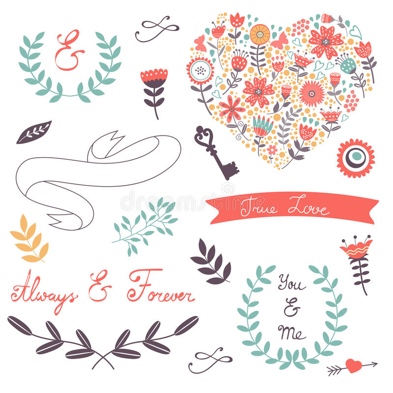 Collection élégante d'éléments graphiques romantiques illustration stock