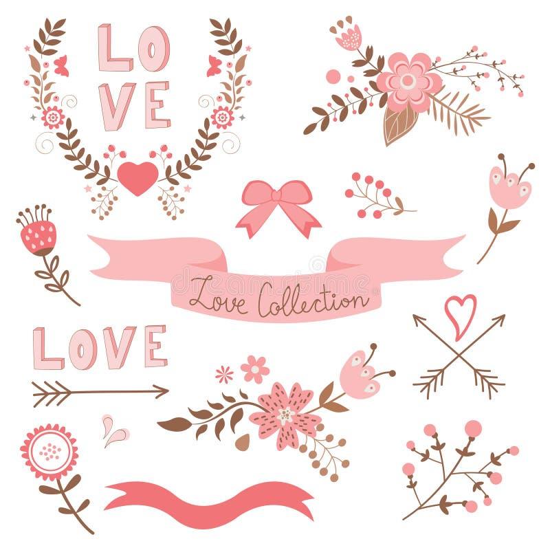 Collection élégante d'amour illustration stock