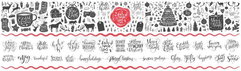 Collection énorme d'ornements, de fleurs, de cadeaux, d'arbres et de beaucoup de Noël davantage La main a marqué avec des lettres illustration de vecteur