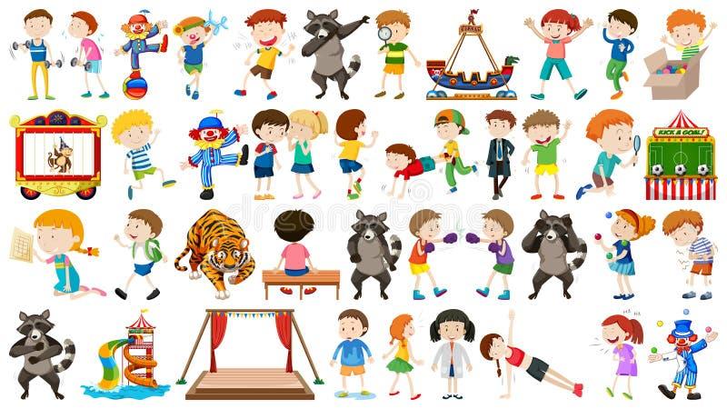 Collection énorme de cirque avec les animaux, les personnes, les clowns et les tours mélangés illustration de vecteur