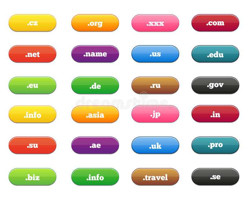 Collection énorme de labels brillants pour des Domain Name illustration stock