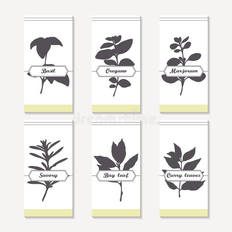 Collection épicée de silhouettes d'herbes Basilic tiré par la main, origan, thym, majorana, savoureux, feuille de laurier, cari illustration de vecteur