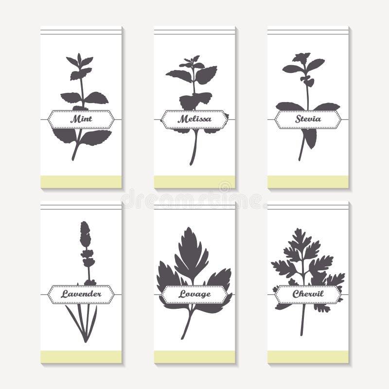 Collection épicée de silhouettes d'herbes Menthe tirée par la main, mélisse, stevia, lavande, livèche, cerfeuil illustration libre de droits