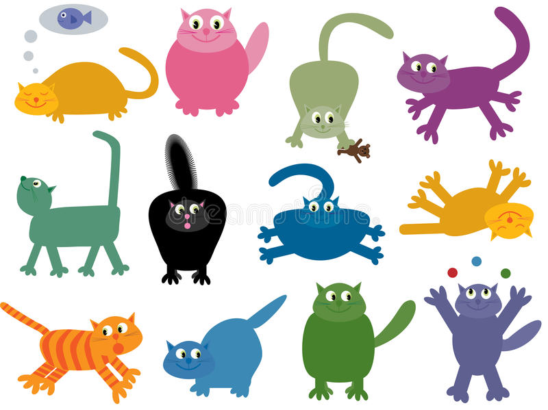 Collection of 12 cool cats. Vector illustration of 12 funny, colourful cats
