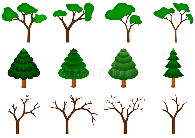Download Collection of 12  trees stock illustration. Illustration of nature - 7257292