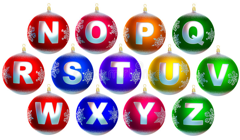 Collection of 13 shiny chrismas baubles royalty free illustration