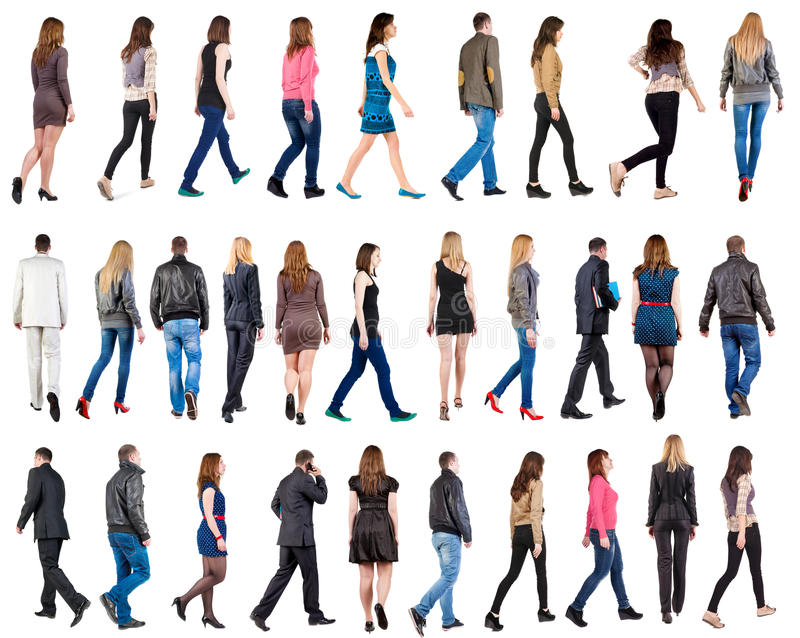 Collection. Back view of walking people . going people in motion set. backside view of person. Rear view people . Isolated over white background royalty free stock image
