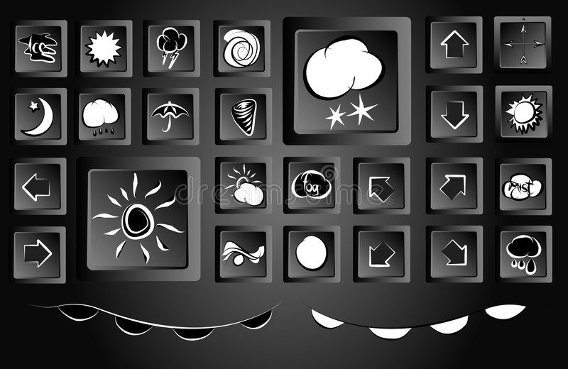 Collection of 28 Weather Map Icons. Collection Set of 28 Weather Map Icons Monochrome Black Styled vector illustration