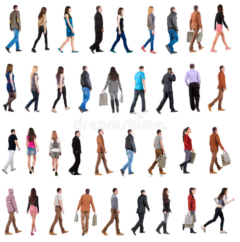 Collection. Back view of walking people . going men and women in motion set. backside view of person. Rear view people . Isolated over white background royalty free stock photography