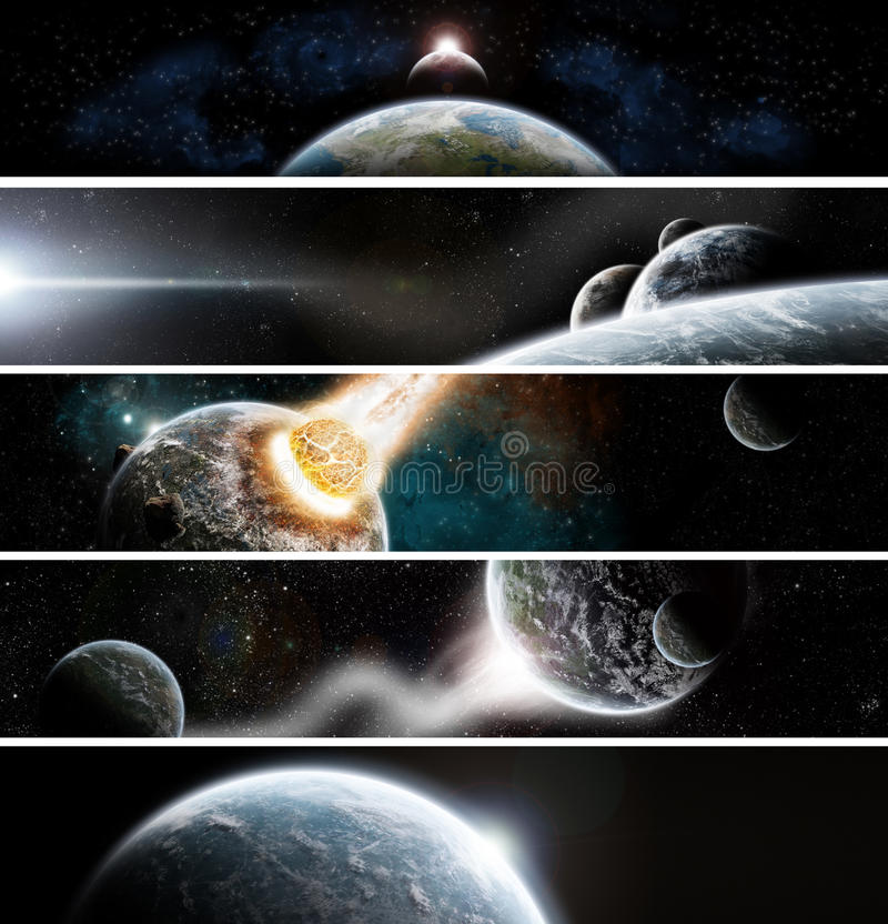 Collection of 5 banners for website : Apocalypse s vector illustration