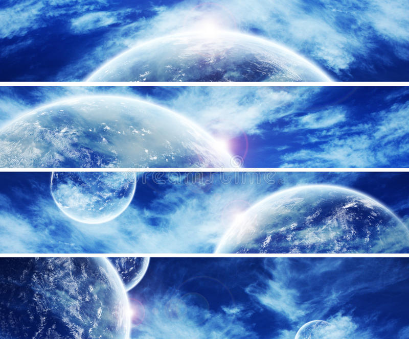 Collection of 5 banners for website : Heaven Space royalty free illustration