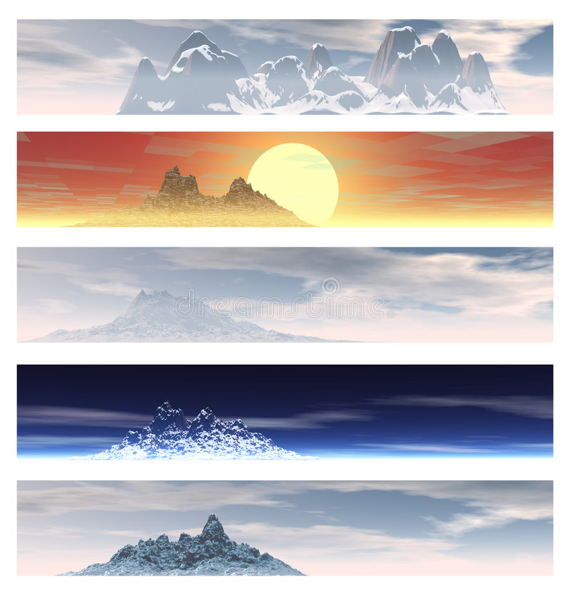Collection of 5 Mountain Landscape Banners. Over White stock illustration