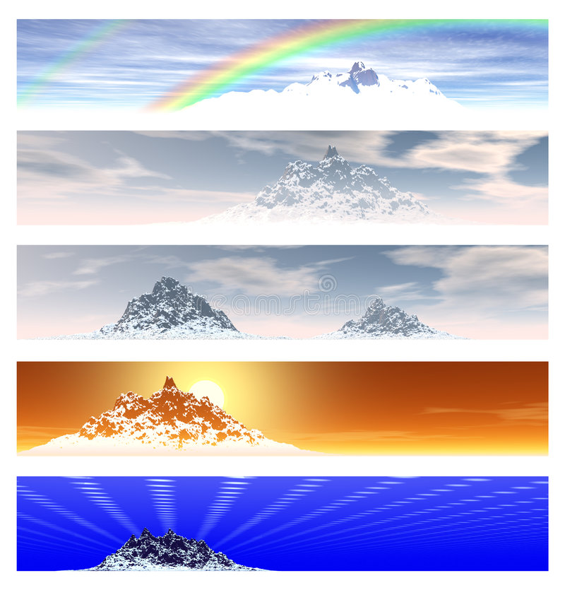 Collection of 5 Mountain Landscape Banners. Over White royalty free illustration
