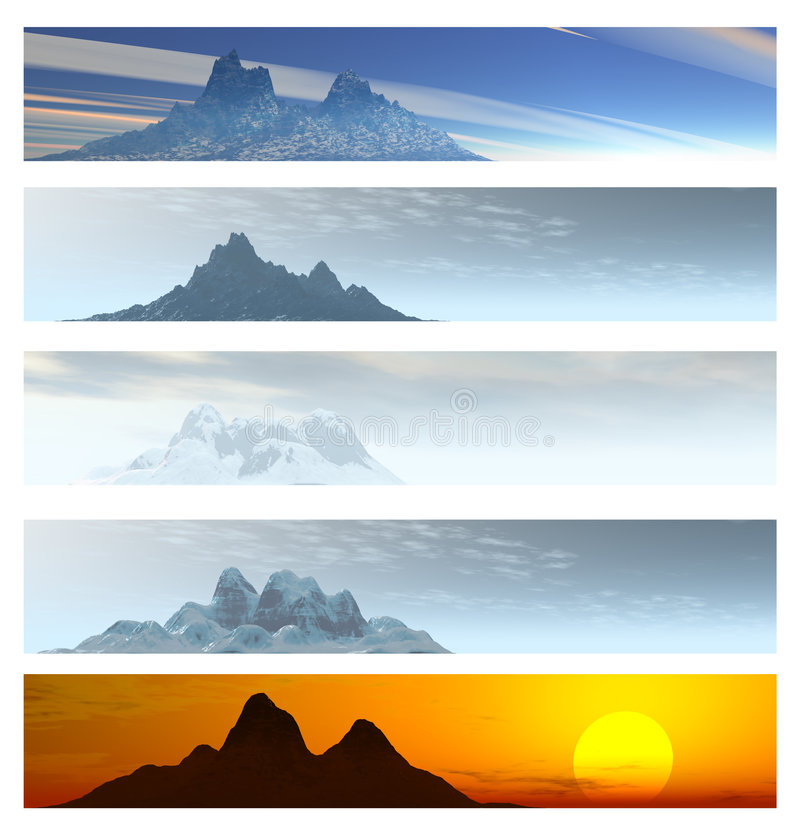 Collection of 5 Mountain Landscape Banners. Over White vector illustration
