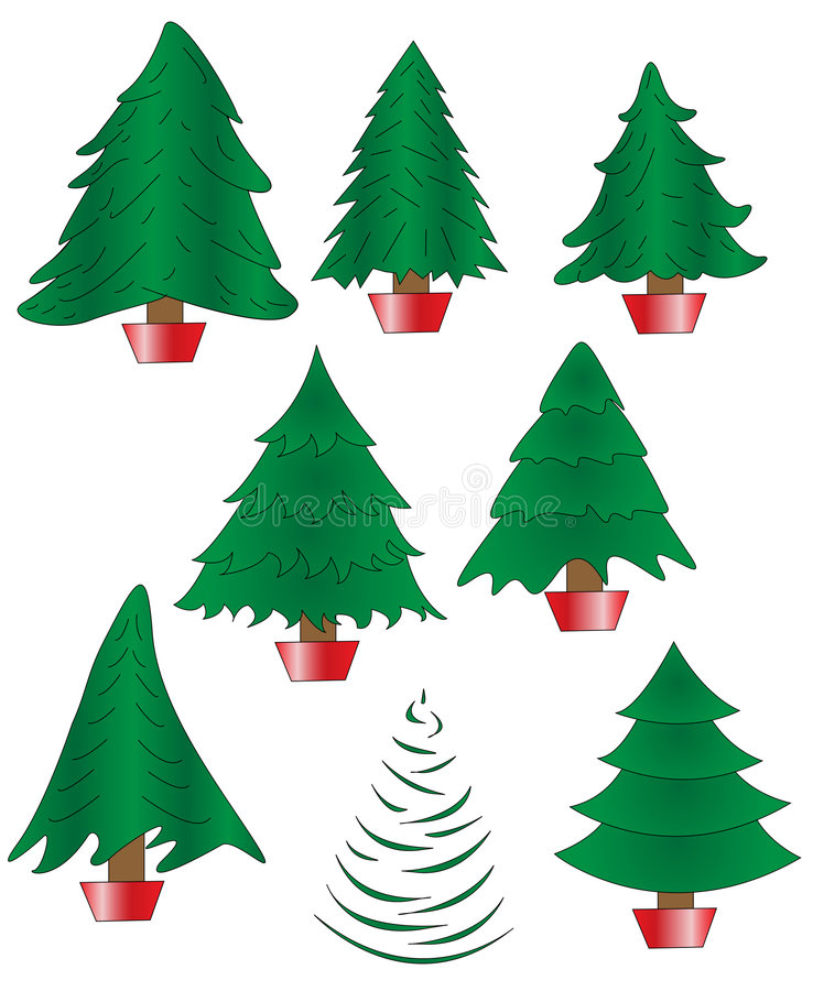 Collection Of 8 Undecorated Christmas Trees Stock Photo