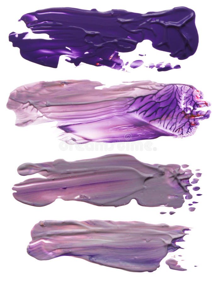 Collection of abstract acrylic brush strokes blots. Isolated royalty free stock photography
