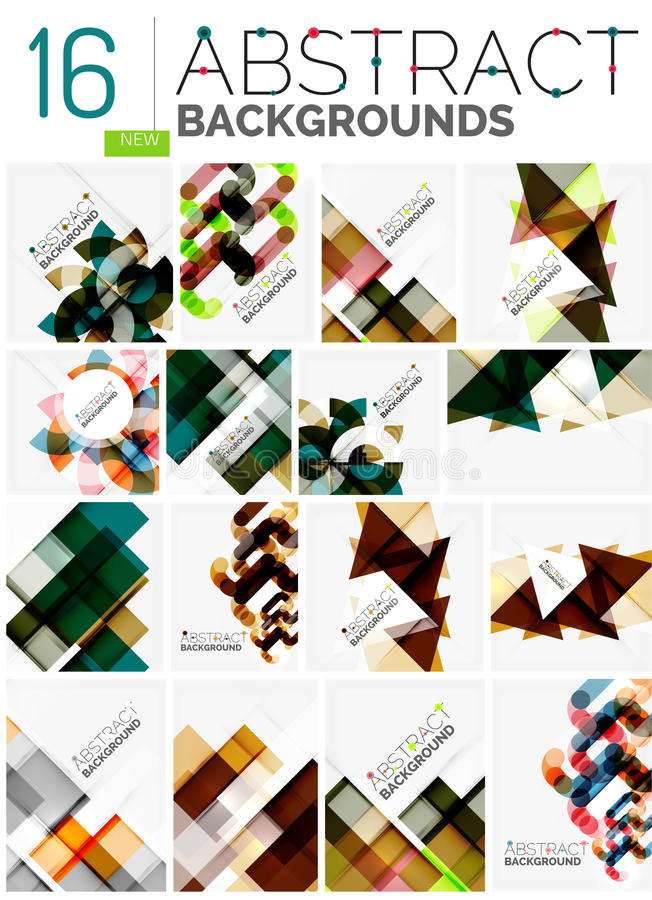 Collection of abstract backgrounds. Repetition of multicolored transparent squares and swirl lines, geometric pattern set. Colorful geometric universal royalty free illustration