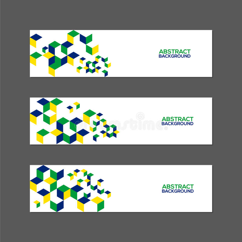 Collection of abstract banner with Brazil flag color. Collection of abstract banner design with Brazil flag color concept stock illustration