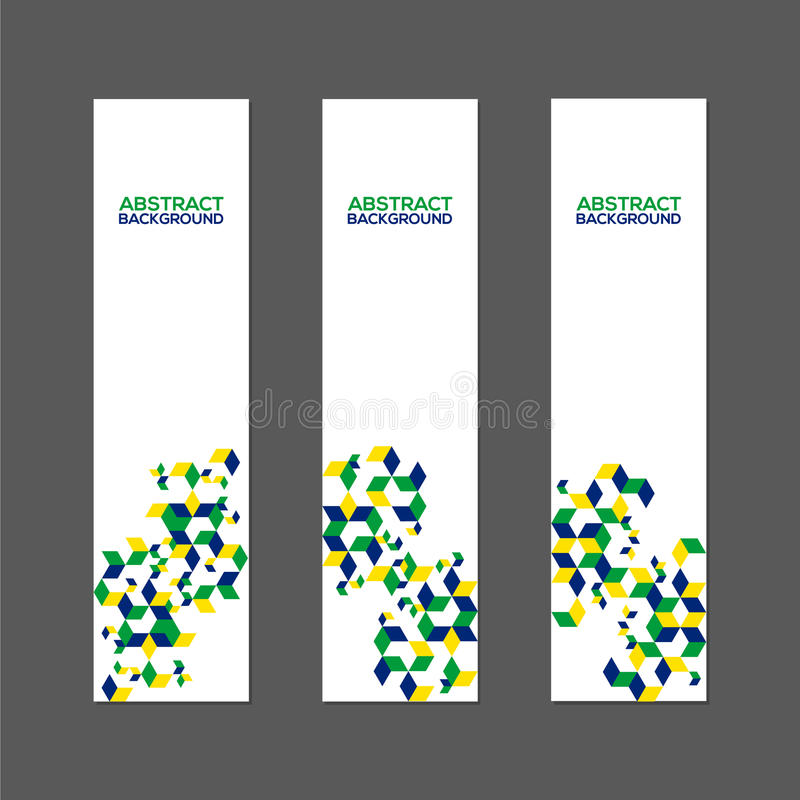 Collection of abstract banner with Brazil flag color. Collection of abstract banner design with Brazil flag color concept royalty free illustration