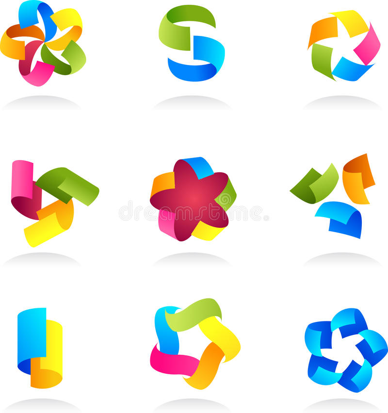 Collection Of Abstract Colorful Icons Stock Image