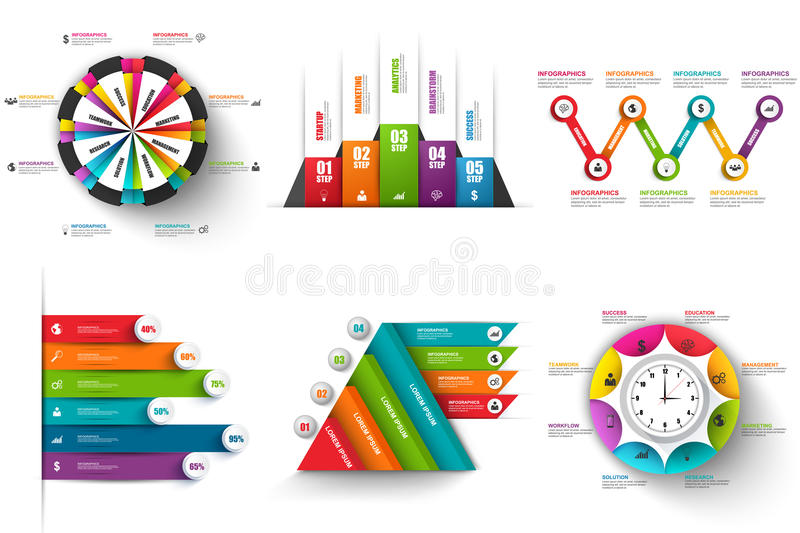 Collection of abstract 3D digital business infographic vector illustration