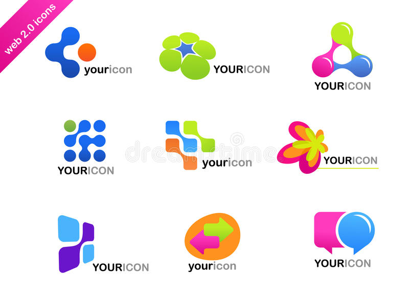Collection of abstract icons and logos vector illustration
