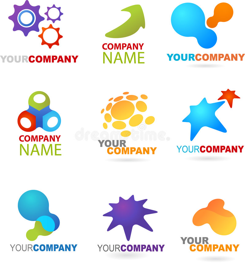 Collection of abstract logos royalty free illustration