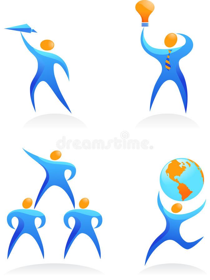 Collection of abstract people logos - 14 stock illustration