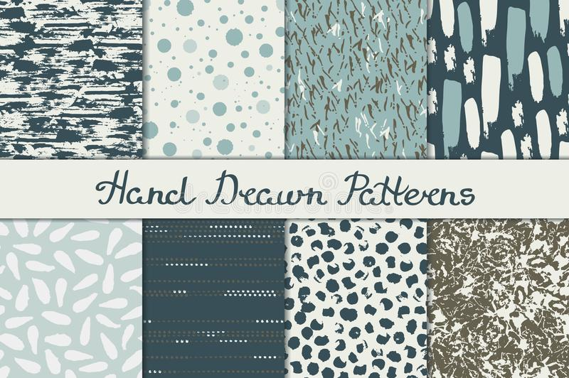 Collection of abstract seamless patterns in blue and brown colors. Ink, pen and brush. Hand drawn. Vector illustration royalty free illustration