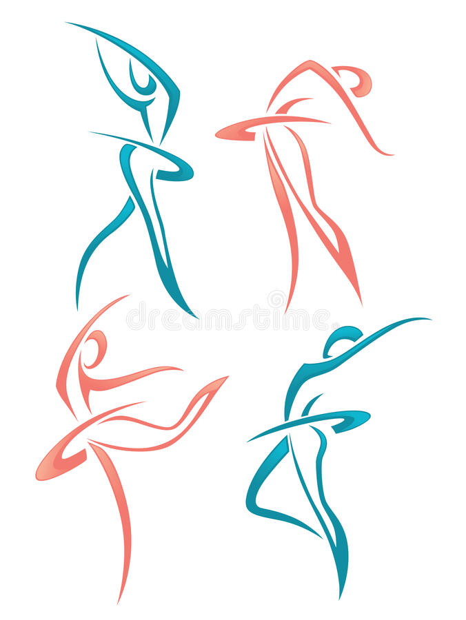 Collection of abstract women in ballet pose vector illustration
