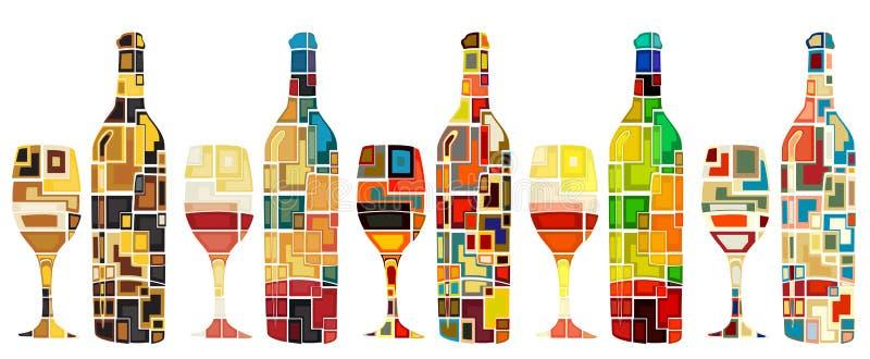 Collection abstraite de vin illustration libre de droits