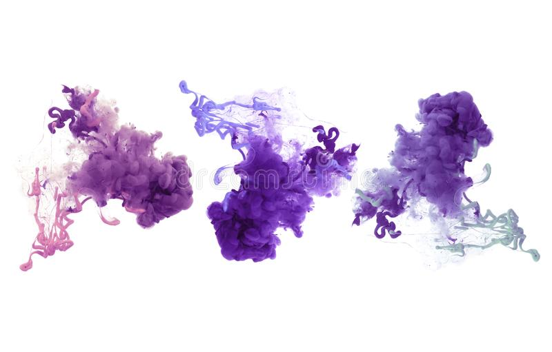 Acrylic colors and ink in water. Abstract background. Collection of acrylic colors in water. Ink blot. Abstract background royalty free stock image