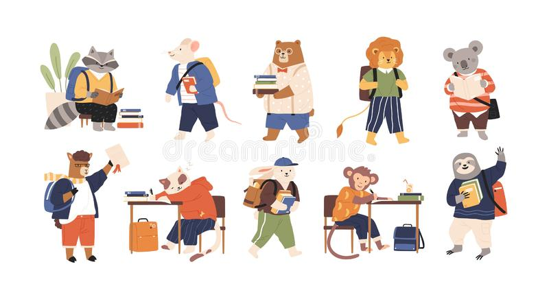 Collection of adorable animals students or pupils studying, writing, reading books. Back to school set. Funny cartoon stock illustration