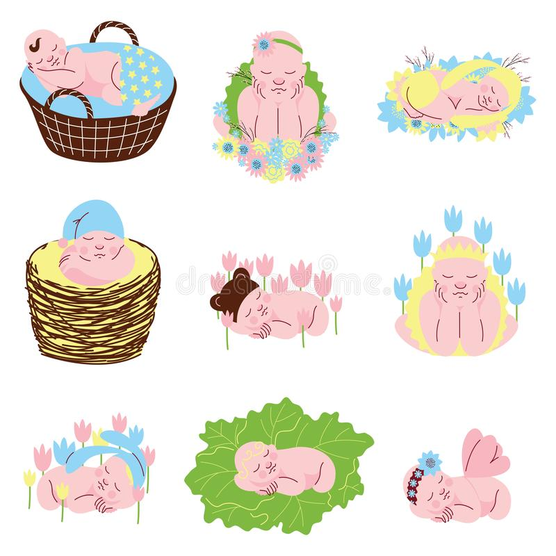 Collection of Adorable Sleeping Newborn Babies Vector Illustration. On White Background vector illustration