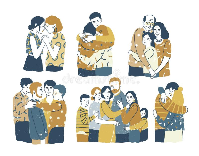 Collection of adorable smiling people standing together and hugging, cuddling and embracing each other. Acceptance, love. Support among friends or family vector illustration