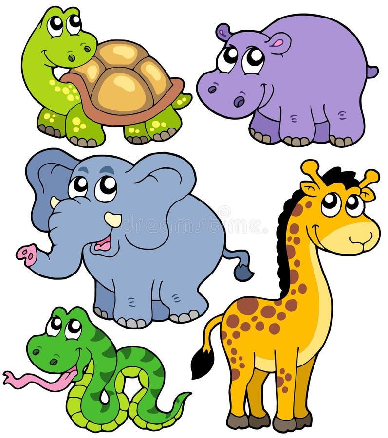 Collection africaine 4 d'animaux illustration de vecteur