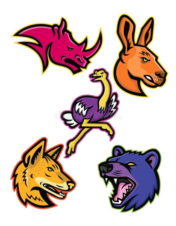 Collection africaine et australienne de mascotte de sports de faune illustration libre de droits