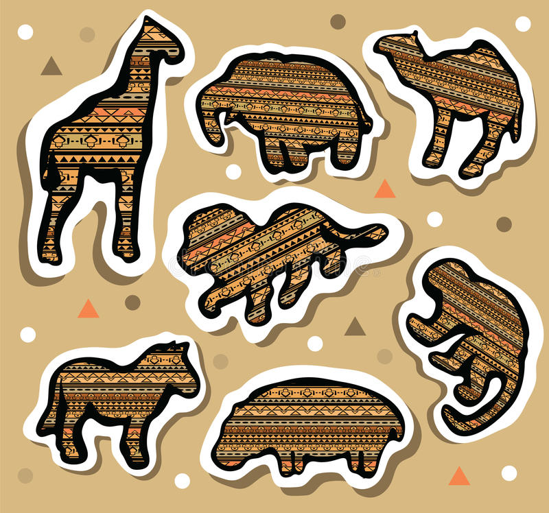 Collection of african animals stickers with seamless pattern royalty free illustration