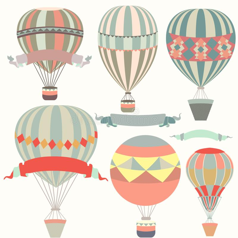 Collection of air balloons vintage style. Collection of air balloons in vintage style vector illustration