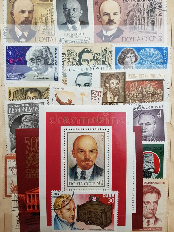 Collection album of postage stamps made in the USSR. stock photos