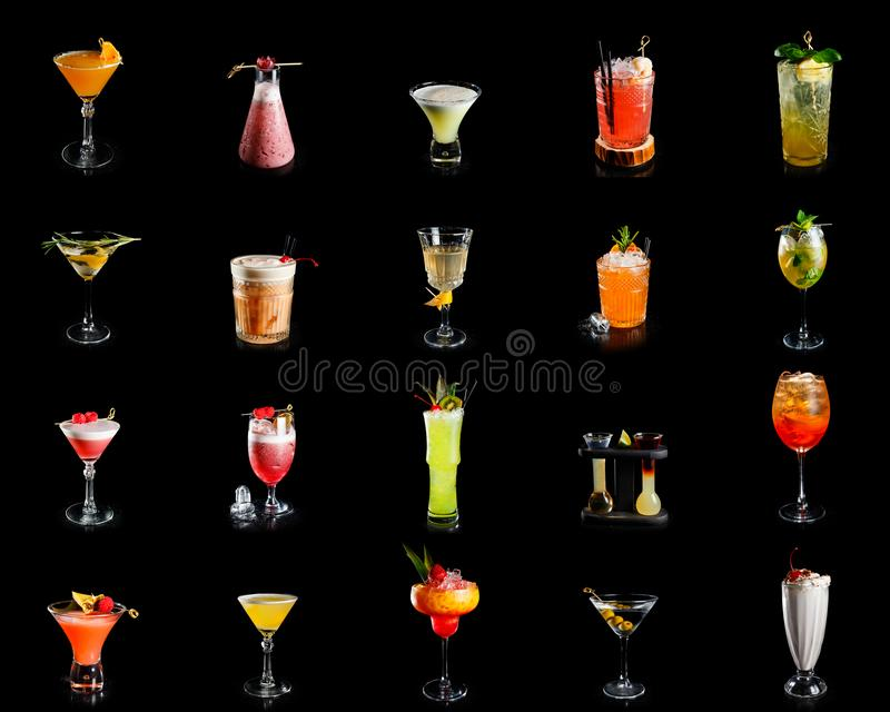 The collection of alcohol cocktails stock photography