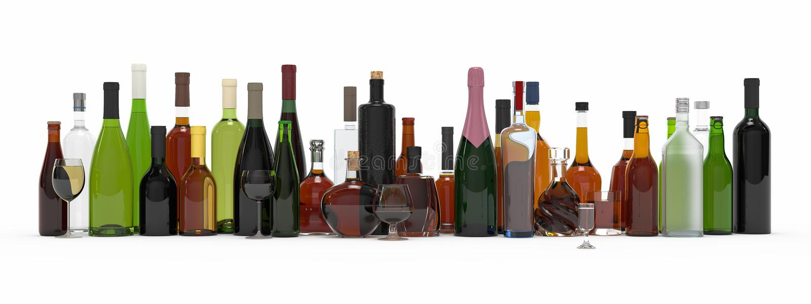 Collection of alcoholic bottles isolated 3d rendering stock illustration