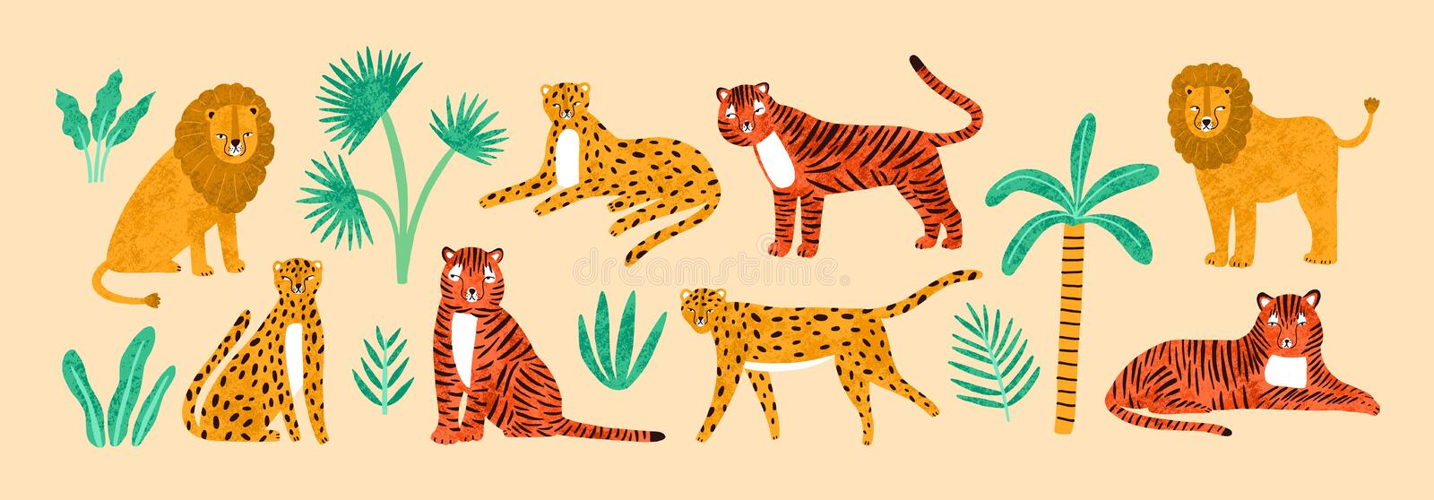 Collection of amusing lions, tigers, leopards, exotic leaves, tropical plants and palm tree isolated on light background vector illustration