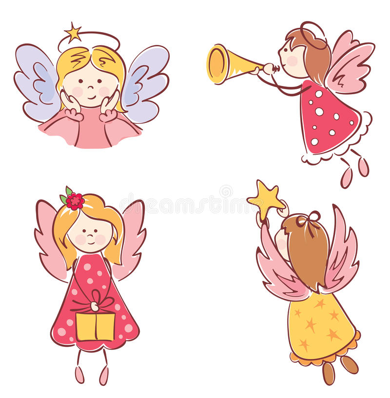 Download A collection of angels stock vector. Image of pink, love - 22026342