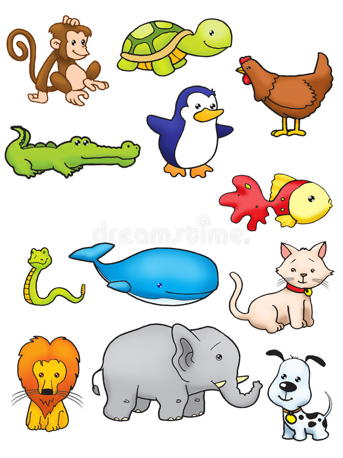 Collection of animal. In full colour royalty free illustration