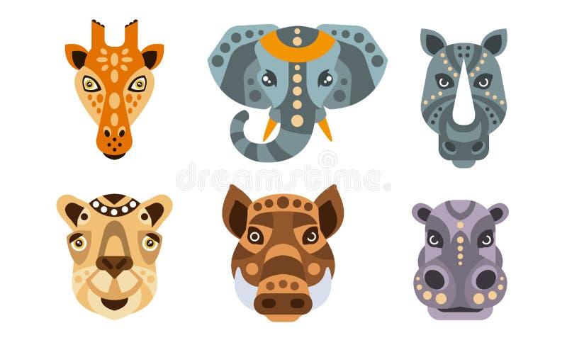 Collection of Animal Heads with Tribal Ethnic Ornament, Giraffe, Elephant, Rhino, Camel, Wild Boar, Hippo Vector stock illustration
