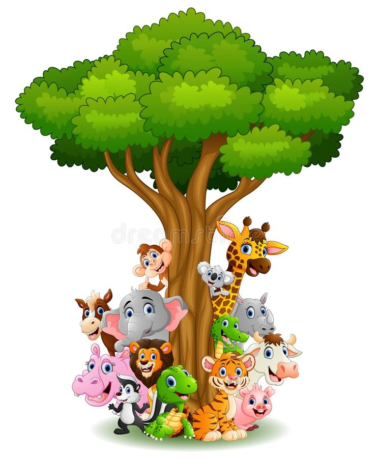 Collection animal stand around tree. Illustration of Collection animal stand around tree stock illustration