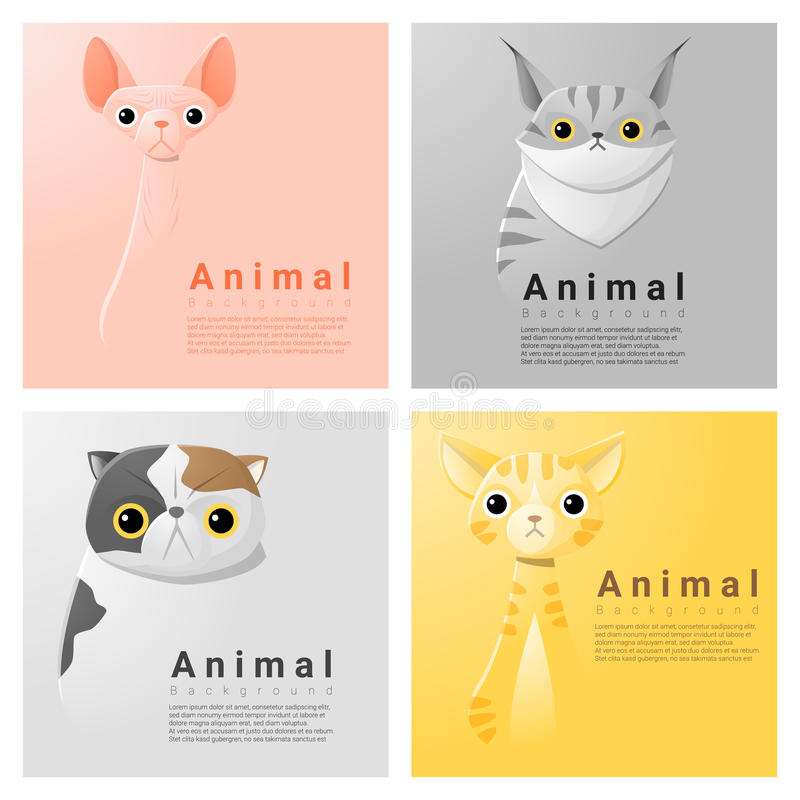 Download Collection Animale De Portrait Avec Des Chats Illustration de Vecteur - Illustration du conception, nature: 76089642