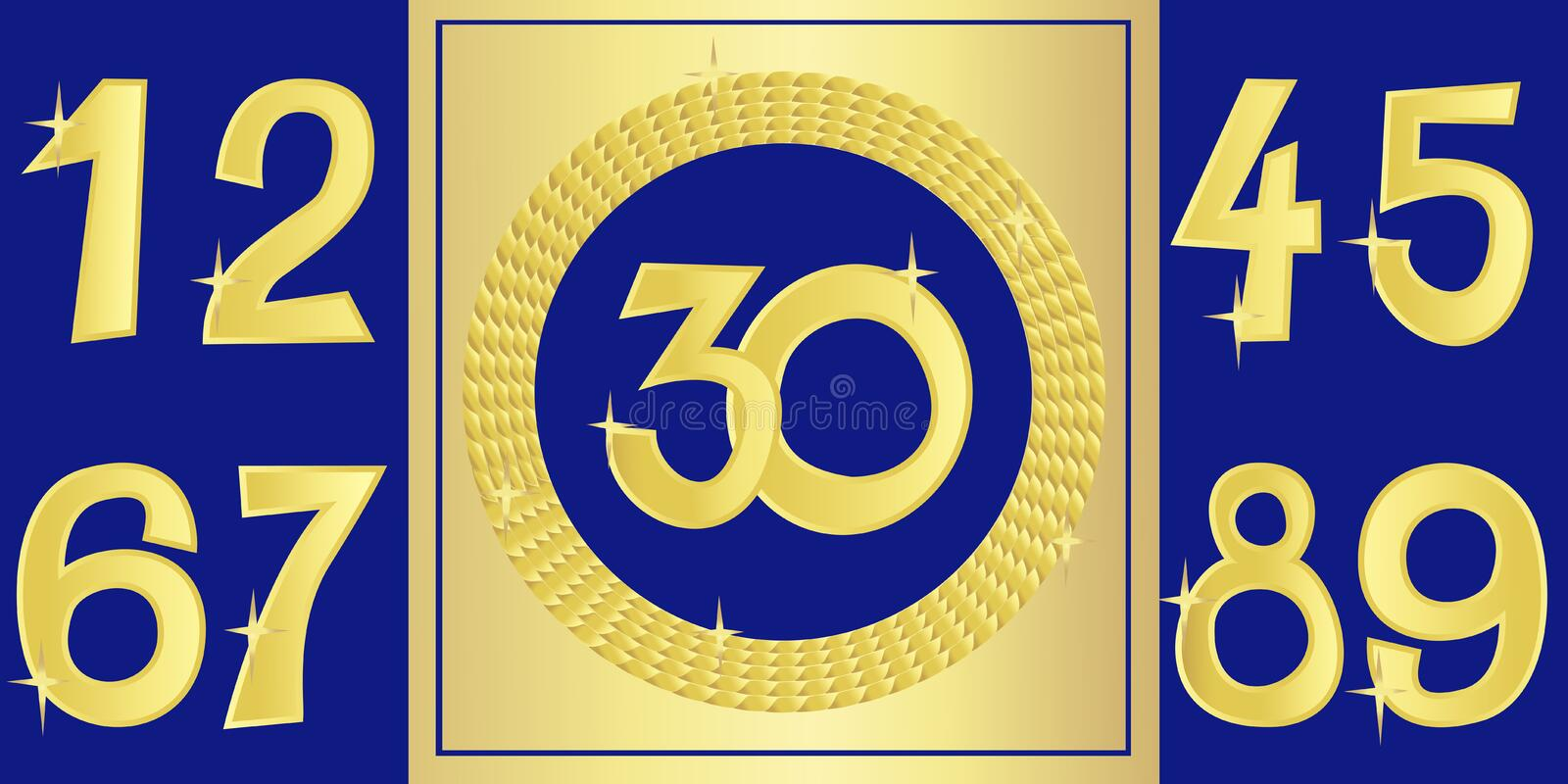 Collection of anniversary golden signs with numbers. Vector illustration royalty free illustration
